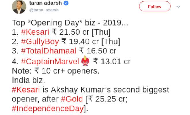 box office collection: अक्षय की 'केसरी' 100 करोड़ पार,हफ्ते भर में बना डाले इतने रिकाॅर्ड