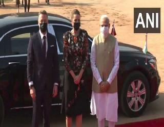 PM मोदी ने राष्ट्रपति भवन में डेनमार्क पीएम फ्रेडरिकसेन का किया स्वागत